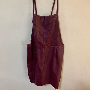 Cotton Candy Burgundy Faux Leather Pinafore Dress